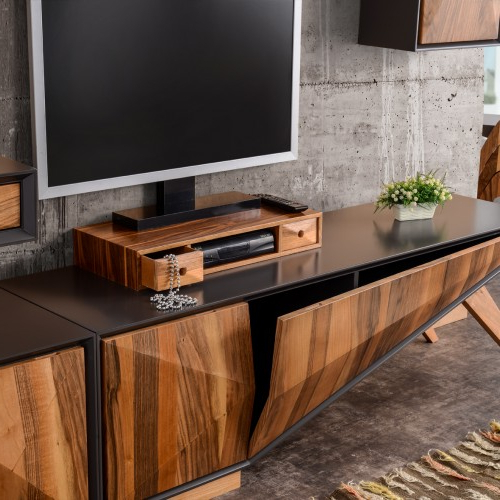 Most Current Mare Collection Zeta Walnut Tv Unit – Entertainment Set (6 Pieces For Walnut Tv Stands (View 10 of 20)
