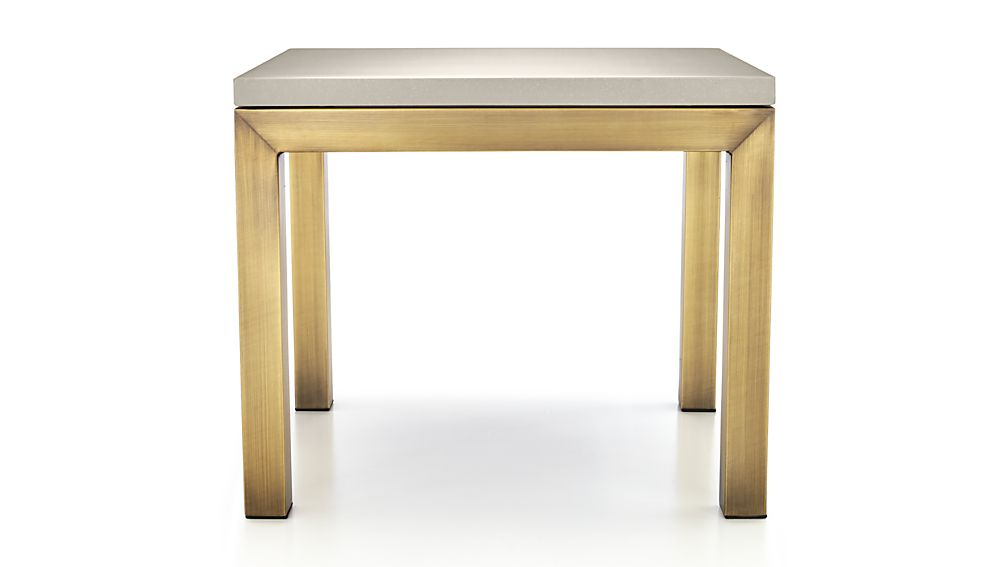 Most Current Parsons Grey Solid Surface Top/ Brass Base 20x24 End Table + Reviews Within Parsons Grey Solid Surface Top & Stainless Steel Base 48x16 Console Tables (View 8 of 20)