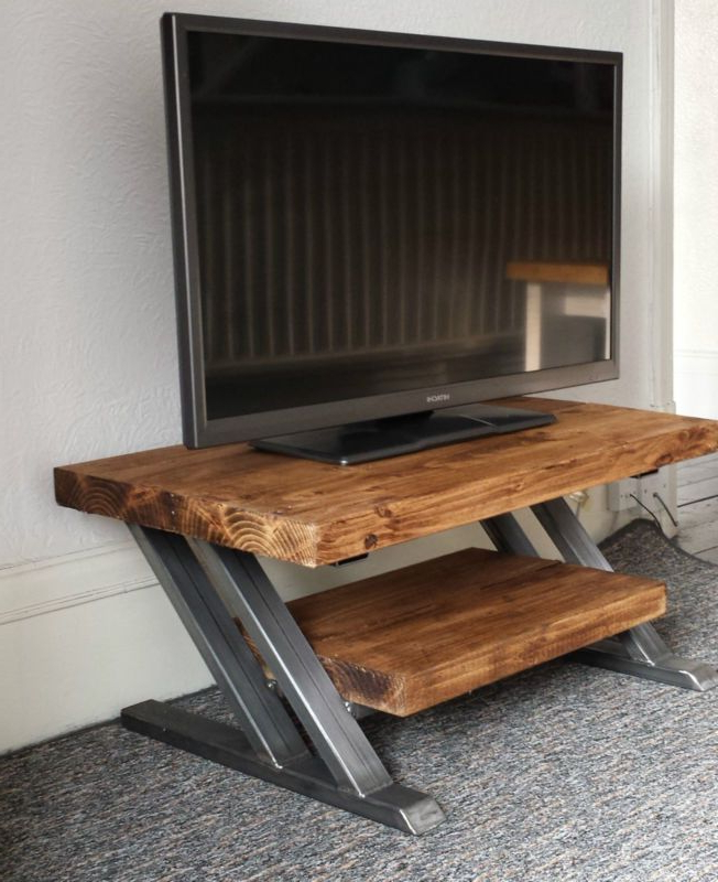 Most Current Rustic Oak Tv Stand Unit Cabinet Metal Z Frame Design Industrial Throughout Reclaimed Wood And Metal Tv Stands (View 4 of 20)