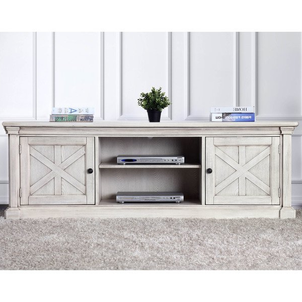 Most Current Rustic White Tv Stands Pertaining To Shop Furniture Of America Lyle Rustic Antique White Tv Stand – Free (Gallery 8 of 20)