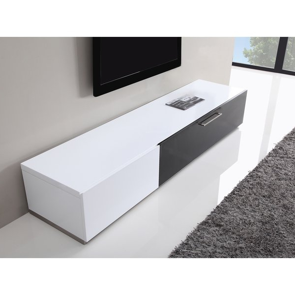 Most Current Shop B Modern Producer White/ Black Modern Tv Stand With Ir Glass For White Modern Tv Stands (View 9 of 20)