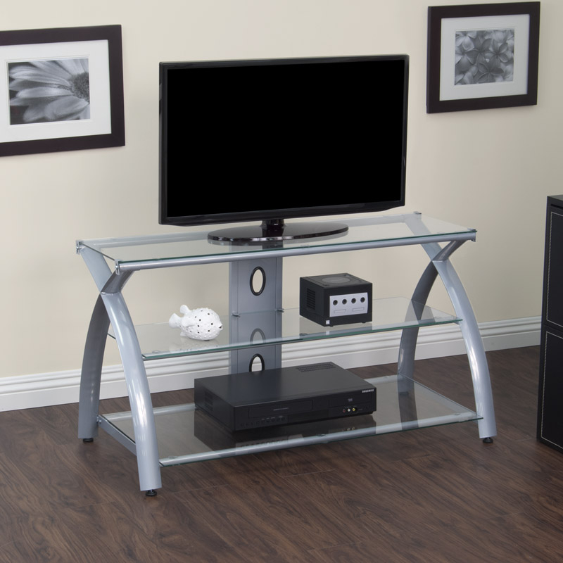 Most Current Silver Tv Stands With Online Catalog » Futura Tv Stand (Silver/clear Glass) (View 8 of 20)