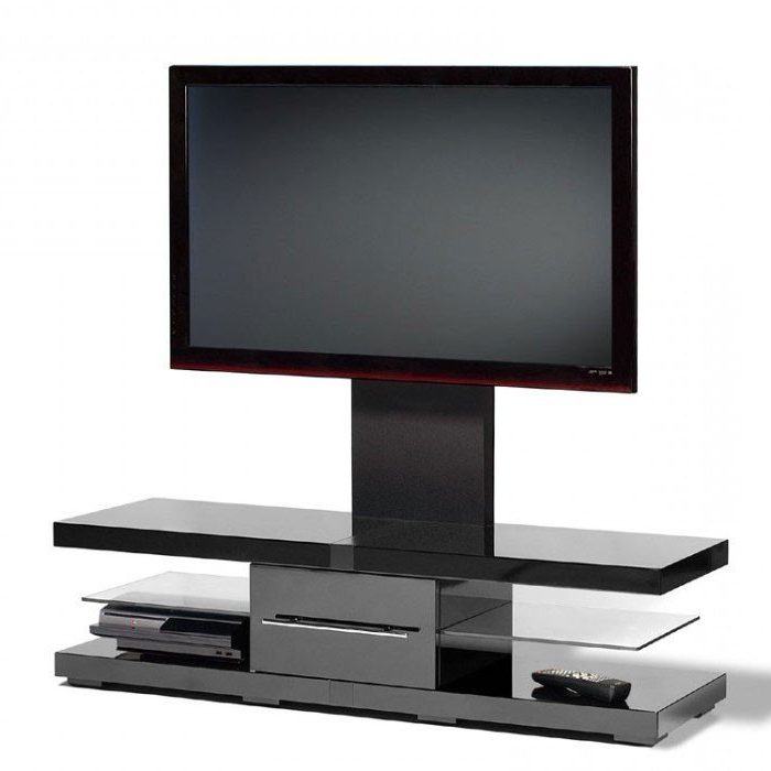 Most Current Techlink Tv Stands Within Techlink Ec130Tvb Echo Tv Piano Gloss Black Cantilever Tv Stand (405709) (View 5 of 20)