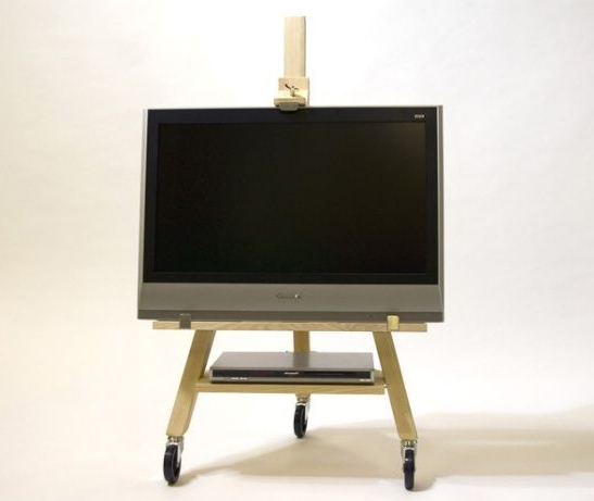 Most Current The Best Flat Screen Tv Solution We've Seen Yet: The Tv Easel Inside Small Tv Stands On Wheels (View 3 of 20)