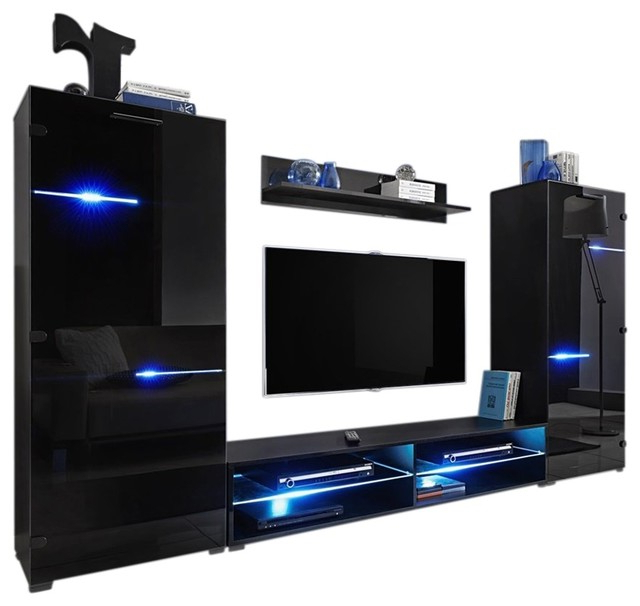 "Most Current Tv Stands With Led Lights For Modern Entertainment Center Wall Unit With Led Lights 65"" Tv Stand (View 6 of 20)"