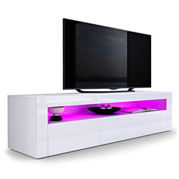Most Current Valencia 70 Inch Tv Stands Pertaining To Vladon Tv Stand Unit Valencia, Carcass In White Matt/front In White (View 7 of 20)