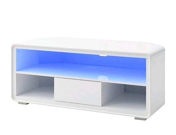 """Most Current White High Gloss Corner Tv Unit Throughout Cosmos Curved 1 Drawer Corner Tv Unit In White High Gloss With Led Lights – Upto 50"""" Rrp £ (View 2 of 20)"""