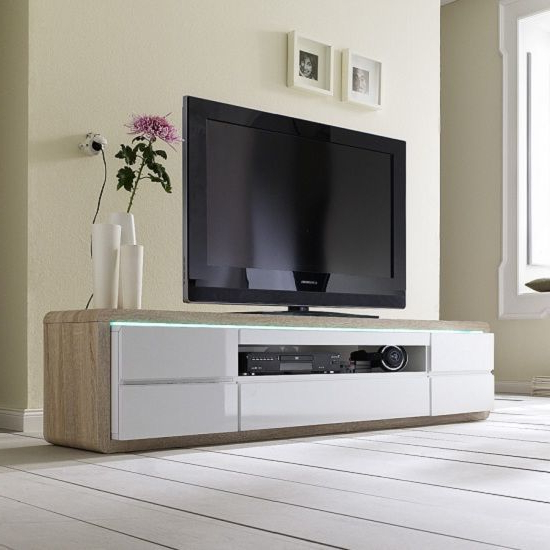 Most Current White Wood Tv Stands Regarding Frame Tv Stand In Oak And White Gloss And Led – Wooden Tv Stands (View 4 of 20)