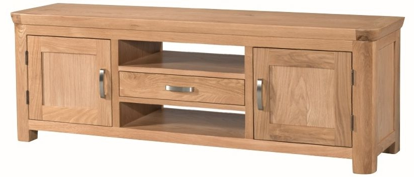 Most Current Wide Oak Tv Units For Buy Treviso Solid Oak 2 Door 1 Drawer Wide Tv Unit Online – Cfs Uk (View 9 of 20)