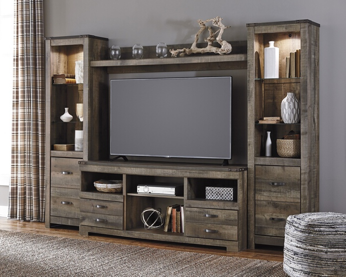 Most Current Wood Tv Entertainment Stands Regarding W446 68 24 24 27 4 Pc Trinell Collection Warm Brown Rustic Plank (View 8 of 20)
