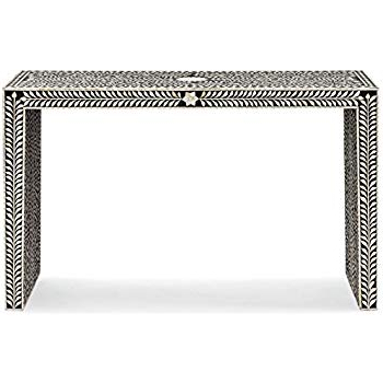 Most Popular Amazon: Kathy Kuo Home Ananda Global Bazaar Black And Cream Bone Intended For Black And White Inlay Console Tables (View 17 of 20)