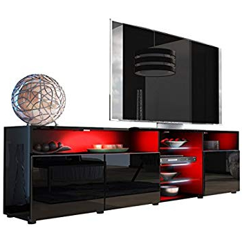 Most Popular Amazon: Meble Furniture & Rugs Milano 145 Modern Tv Stand Matte In Black And Red Tv Stands (View 15 of 20)