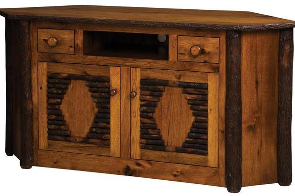 Most Popular Amish Rustic Corner Tv Stand Inside Rustic Corner Tv Cabinets (View 5 of 20)