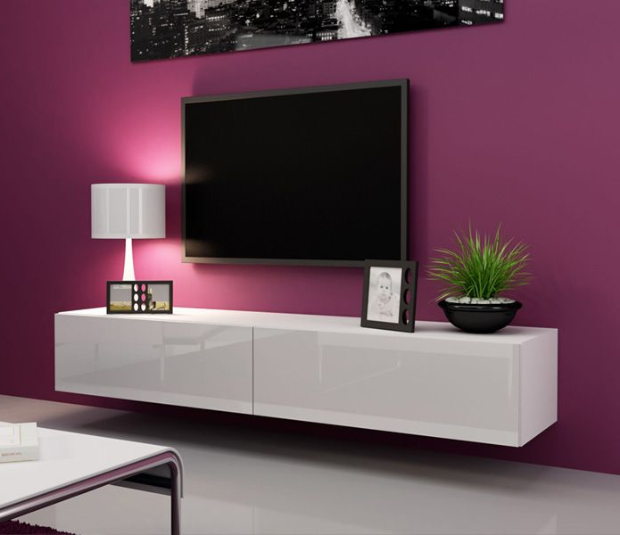 Most Popular Black Gloss Tv Wall Units Intended For Black High Gloss Wall Mounted Tv Unit (View 12 of 20)