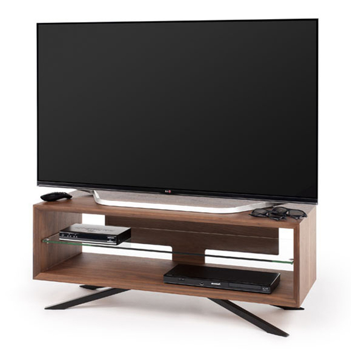 Most Popular Cheap Techlink Tv Stands With Regard To Techlink Aa110w Arena Walnut With Clear Glass Tv Stand – Gerald Giles (View 3 of 20)