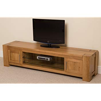 Most Popular Chunky Tv Cabinets Throughout Kuba Chunky Solid Oak Wood Glass Widescreen Tv Cabinet Unit, ( (View 10 of 20)
