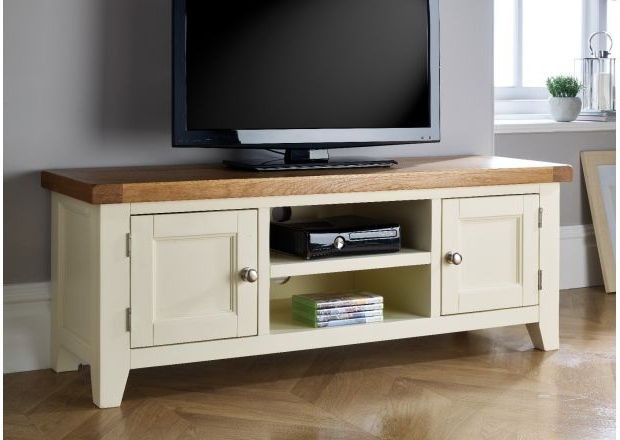 Most Popular Cream Tv Cabinets Within Oak Tv Stands & Entertainment Units (View 14 of 20)
