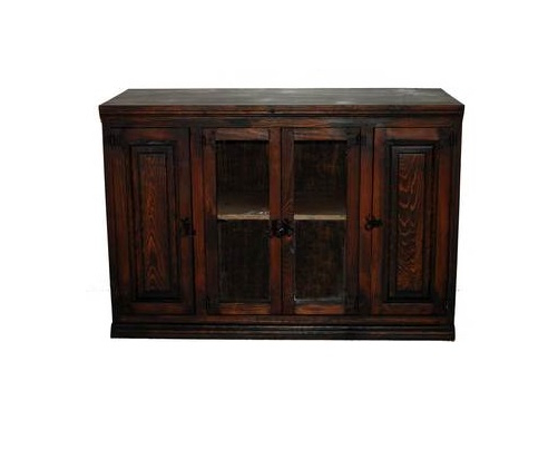 "Most Popular Dark 45"" Tv Stand With Glass Door Real Wood Rustic Western Flat Inside Dark Wood Tv Stands (View 11 of 20)"