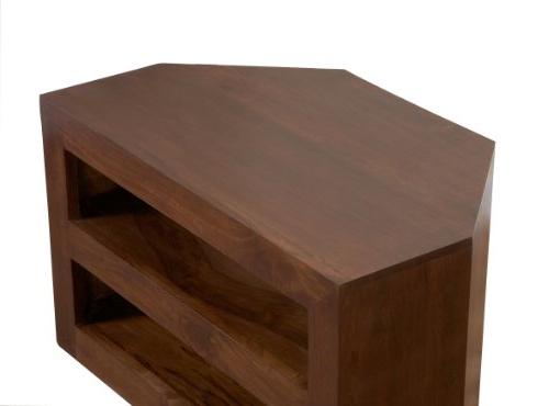 Most Popular Dark Wood Corner Tv Cabinets Throughout Homescapes Dakota Tv Dvd Corner Unit For Living Room Dark Shade (View 6 of 20)