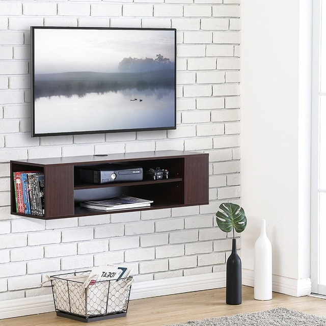 Most Popular Floating Tv Stand Wall Mount Tv Cabinet Media Console Entertainment In Entertainment Center Tv Stands (View 18 of 20)
