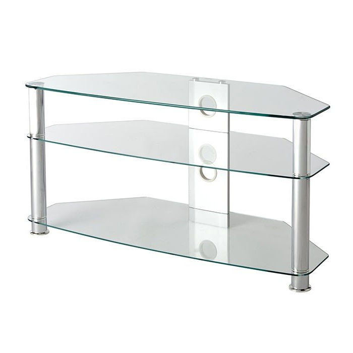 Most Popular Glass Tv Stands Within Mmt Cl1000 Jet Premium Clear Glass Corner Tv Stand For Screens Up To (View 15 of 20)