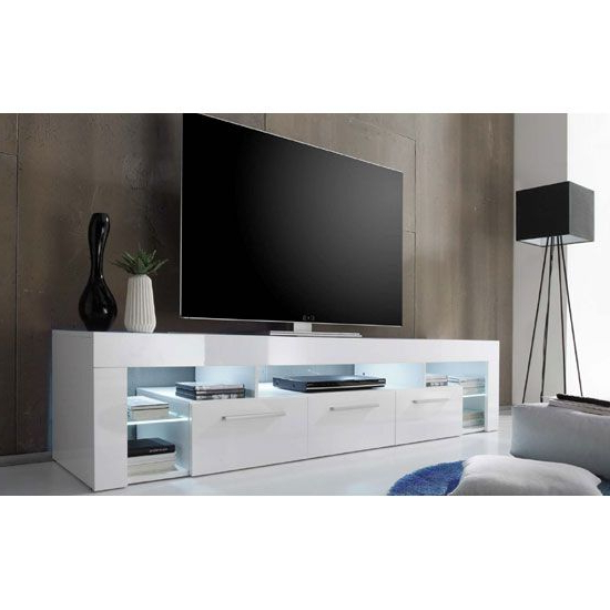 Most Popular Large Black Tv Unit Intended For Sorrento Large Tv Stand In White High Gloss With White Led Light (View 15 of 20)