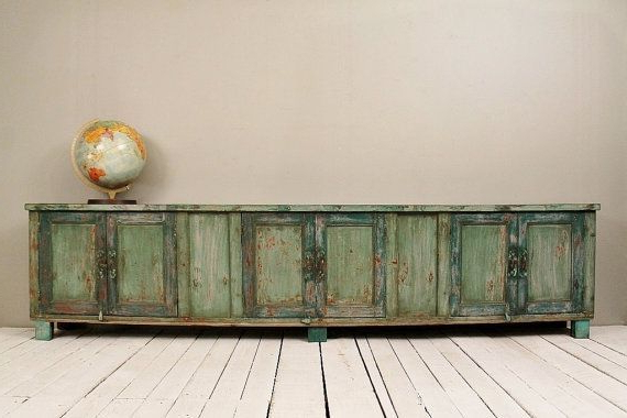 Most Popular Long Low Tv Cabinets Intended For Long And Low Reclaimed Antique Sideboard Media Console Tv Stand Low (View 11 of 20)