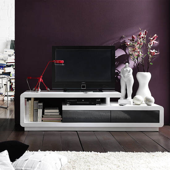Most Popular Modanuvo Modern White Grey High Gloss Tv Unit Cabinet Coffee Table Intended For White High Gloss Tv Stands (View 2 of 20)