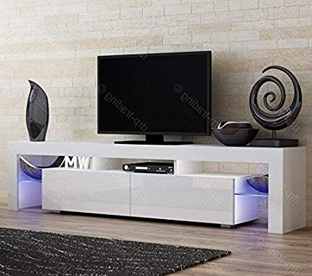 Most Popular Modern Tv Unit 200Cm Cabinet White Matt And White High Gloss Free Throughout Gloss White Tv Cabinets (Gallery 1 of 20)