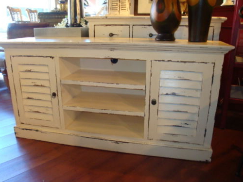 Most Popular Painted Tv Stands Within Shutter Plasma Tv Stand Cabinet Mahogany Wood Cottage Painted (View 8 of 20)