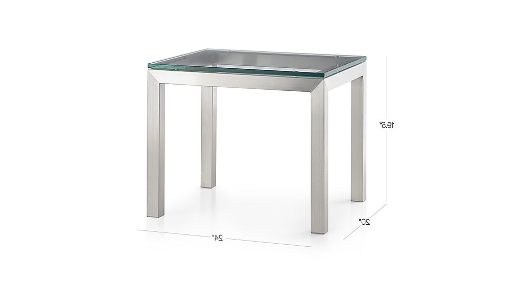 Most Popular Parsons Clear Glass Top/ Stainless Steel Base 20X24 End Table Regarding Parsons Black Marble Top & Elm Base 48X16 Console Tables (View 7 of 20)