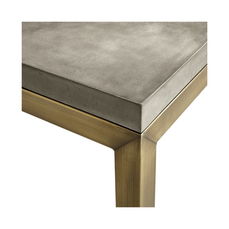 Most Popular Parsons Concrete Top & Brass Base 48X16 Console Tables Regarding Parsons Concrete Top/ Brass Base 60X36 Large Rectangular Coffee (View 10 of 20)