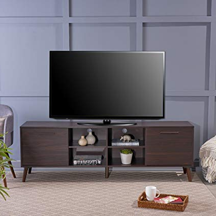 Most Popular Rowan 74 Inch Tv Stands Throughout Amazon: Christopher Knight Home 304407 Dontae Tv Stand, Dark (View 9 of 20)