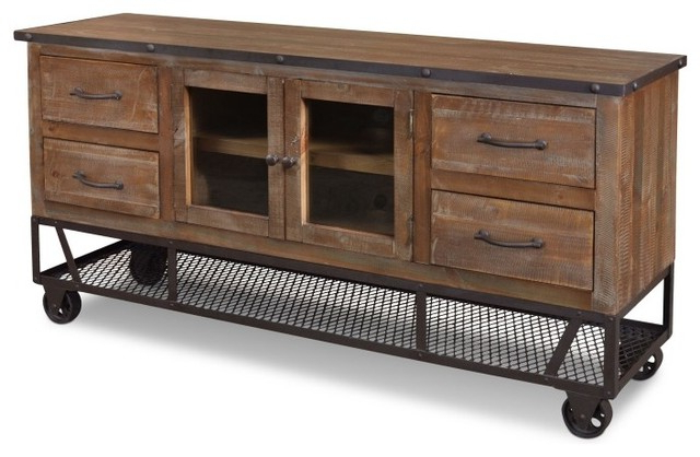 """Most Popular Rustic Industrial Style 65"""" Tv Stand – Industrial – Entertainment Pertaining To Industrial Style Tv Stands (Gallery 1 of 20)"""