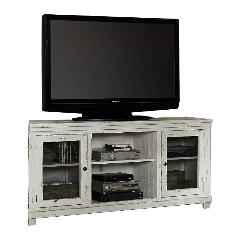 Most Popular Rustic White Tv Stands Pertaining To 68 Inch Distressed White Tv Stand – Willow (View 4 of 20)