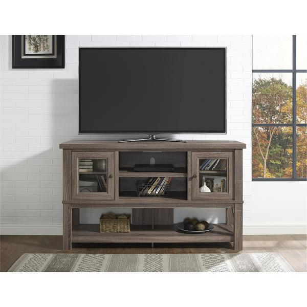 Most Popular Shop Ameriwood Home Everett 70 Inch Sonoma Oak Tv Stand With Glass Pertaining To Glass And Oak Tv Stands (View 11 of 20)