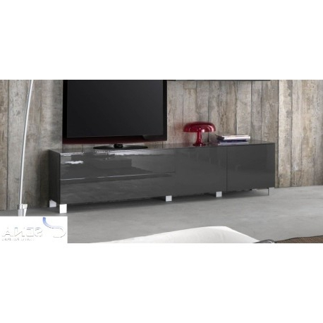 Most Popular Sofia Grey High Gloss Tv Stand Assembled – Tv Stands (2688) – Sena Throughout Black Gloss Tv Units (View 9 of 20)