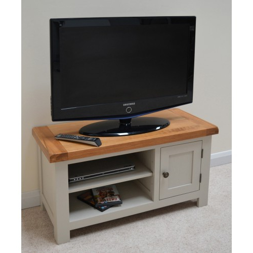 Most Popular Swainswick Stone Grey Painted Oak Tv Stand / Entertainment Unit With Painted Tv Stands (View 10 of 20)