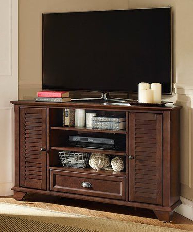 Most Popular This Mahogany Palmetto Corner Tv Stand Is Perfect! #zulilyfinds For Mahogany Corner Tv Cabinets (View 19 of 20)