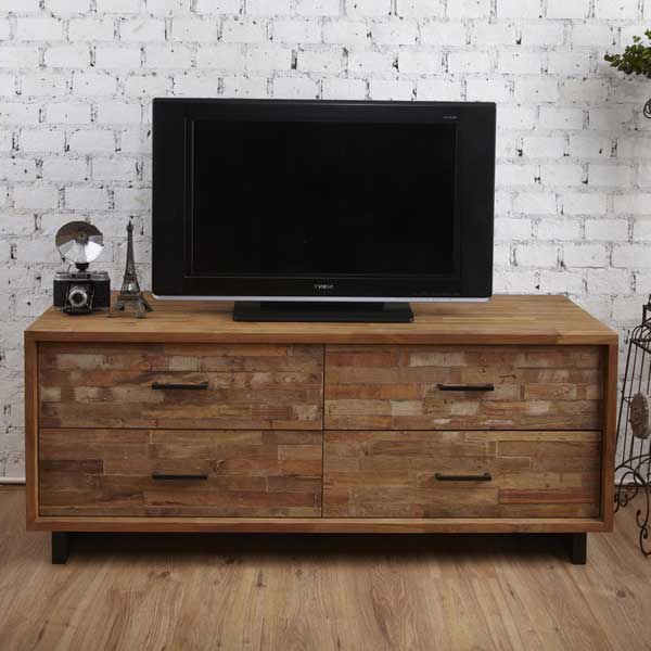 Most Popular Tv Units : 4 Drawers – Tv Unit Finger Joint Teak Wood Regarding Tv Drawer Units (View 7 of 20)