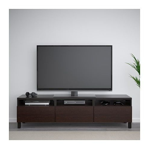 Most Popular Tv Units Black Within Bestå Tv Unit With Drawers, Black Brown, Inviken Black Brown In  (View 6 of 20)
