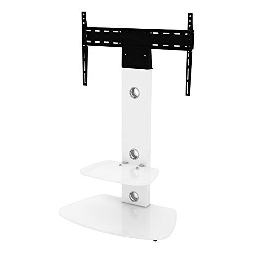Most Popular Upright Tv Stands In King Upright Cantilever Tv Stand With Bracket Satin White Shelves (Gallery 19 of 20)