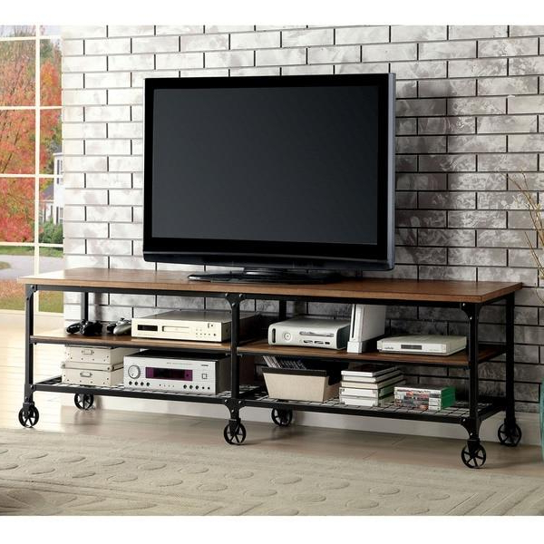Most Popular Urban Oak Black Metal Mesh Doors Tv Stand For Metal And Wood Tv Stands (View 15 of 20)