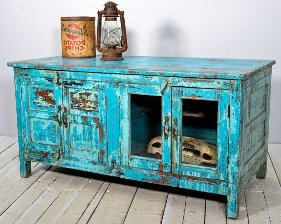 Most Popular Vintage Tv Stands For Sale Inside Media Console Tv Stand Vintage Acid Washed Bright Jodhpur Blue (View 3 of 20)