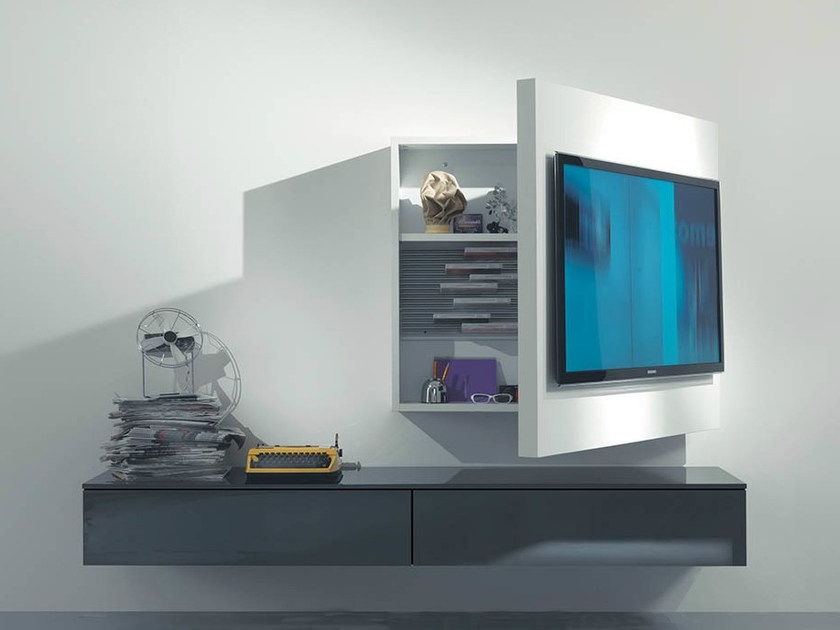 Most Popular Wall Mounted Tv Racks With Regard To Lacquered Adjustable Wall Mounted Tv Cabinet Rack 3Fimar (View 6 of 20)