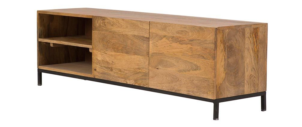 Most Popular Ypster Mango Wood And Metal Industrial Tv Stand – Miliboo For Mango Tv Stands (Gallery 14 of 20)