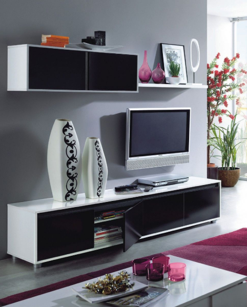 Most Recent Alida Black And White Gloss Tv Cabinet With Wall Unit Inside Black Gloss Tv Wall Units (View 13 of 20)