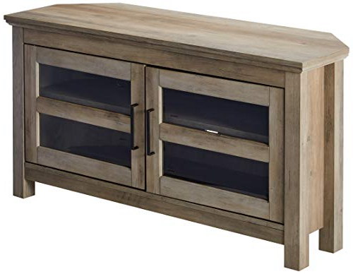 "Most Recent Amazon: We Furniture Azq44Ccrgw Corner Tv Stand, 44"", Grey Wash Within Grey Corner Tv Stands (View 10 of 20)"