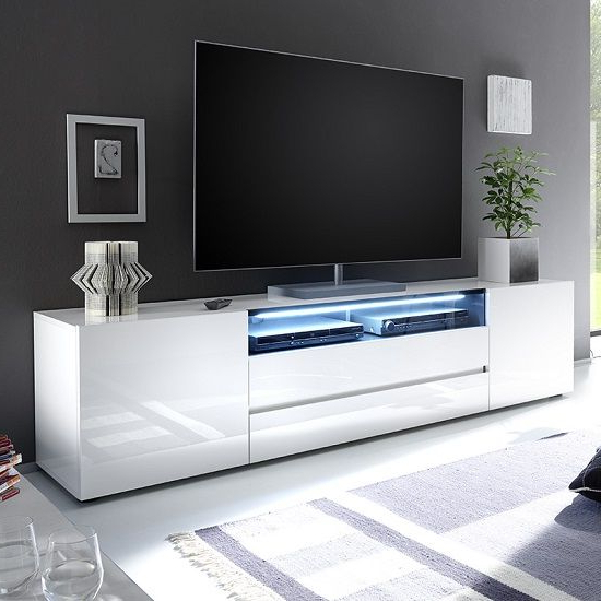 Most Recent Cheap White Tv Stands Regarding Leon Tv Stand In White High Gloss With Led Lighting In  (View 12 of 20)