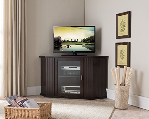 Most Recent Corner Wooden Tv Cabinets Pertaining To Amazon: Kings Brand 47 Inch Walnut Wood Corner Tv Stand (View 16 of 20)
